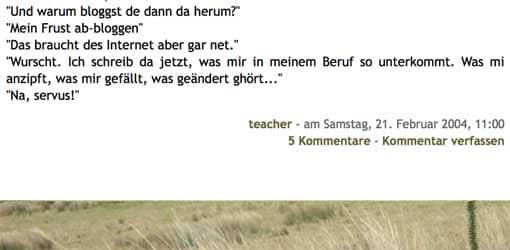 Screenshot: niemehrschule, erster Beitrag (Ende)