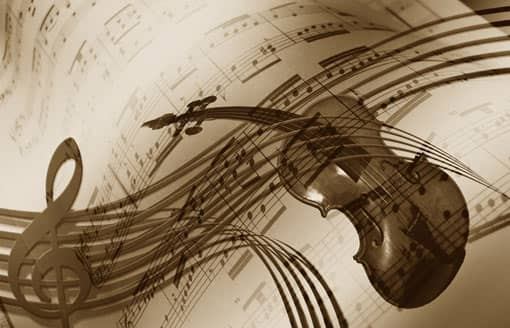 Musiknoten und Geige