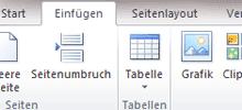 Ausschnitt: Neue Oberfläche von Office 2007 iund 2010 (Ribbons)