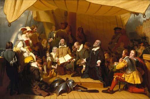 Gemälde: Pilgrim Fathers vor ihrer Abreise in die USA