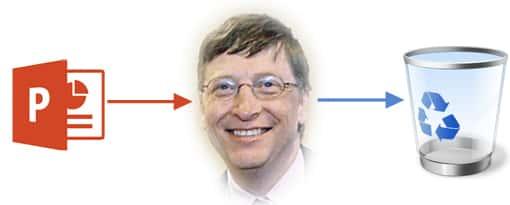 Bei Bill Gates geht Powerpoint da rein und da raus