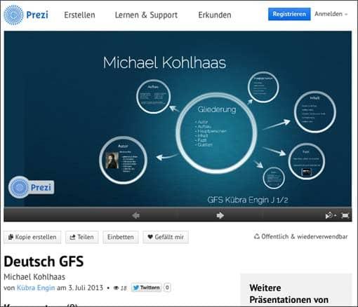 Screenshot: Prezi zu Michael Kohlhaas