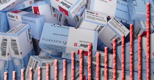Ritalin-Verpackungen; Steigerungsrate des INCB-Methylphenidat-Berichts