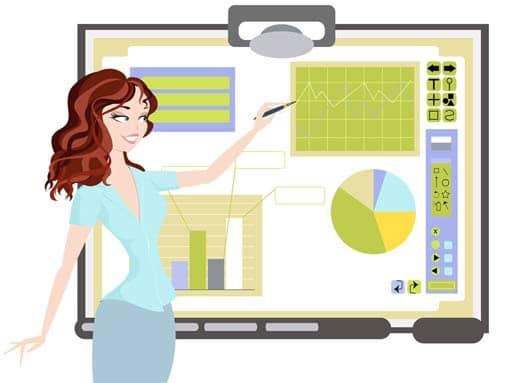 Frau an einem interaktiven Whiteboard