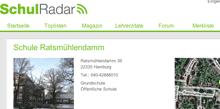 Ausschnitt: Bewertungsseite der Grundschule Ratsmühlendamm auf schulradar.de