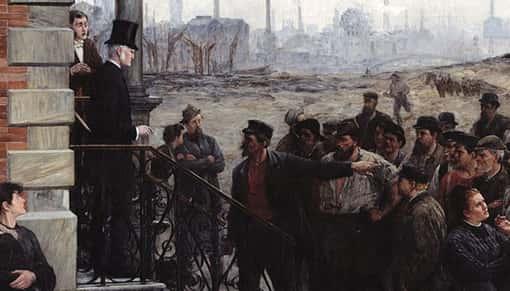 Ausschnitt des Gemäldes 'Der Streik' von Robert Koehler