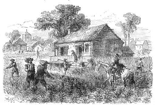 Tabakplantage in Jamestown (USA), 1615, Zeichnung von 1878