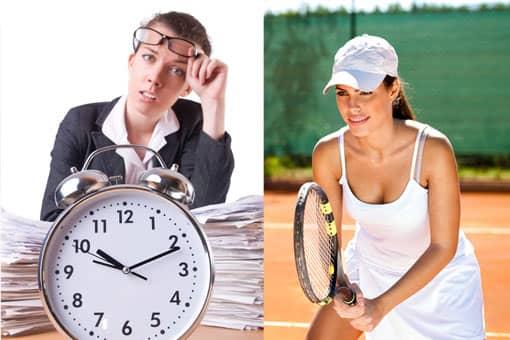 Tennisspieler vs. Lehrer beim Unterrichtvorbereiten