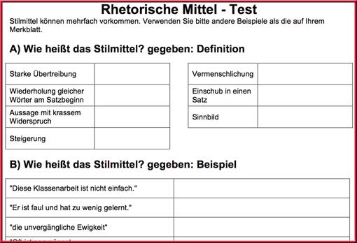 Ausschnitt: Test »Rhetorische Mittel«