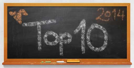 Tafel mit Aufschrift Top 10 2014