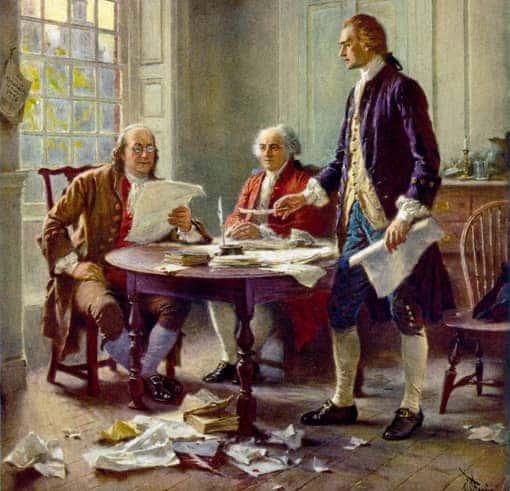 Gemälde: Jefferson, Franklin und Adams überarbeiten die Unabhängigkeitserklärung