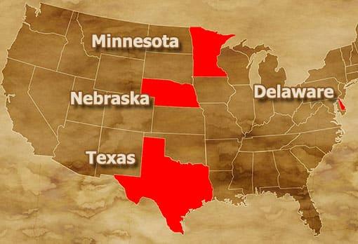 USA-Karte mit den Staaten Minnesota, Nebraska, Texas und Delaware
