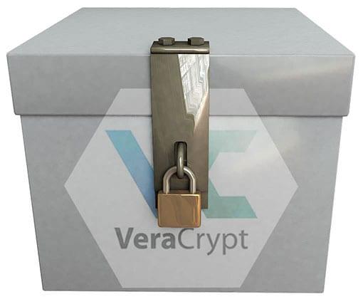 Kiste mit Vorhängeschloss und VeraCrypt-Logo