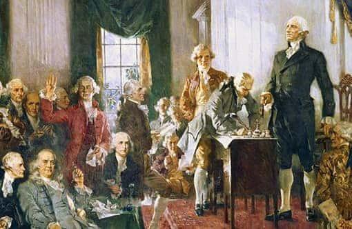 Gemälde: Unabhängigkeitserklärung der USA wird unterschrieben, George Washington