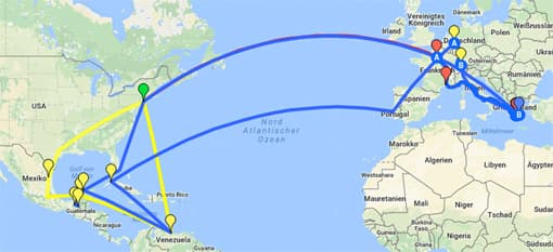 Karte mit Reisen und Stationen des Walter Faber (kleines Bild)