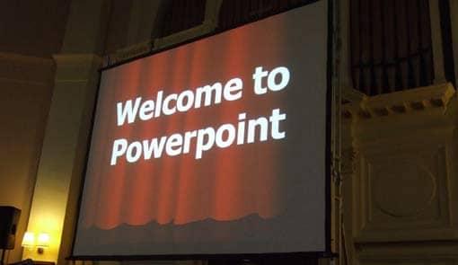 Folie mit Aufschrift Welcome to Powerpoint