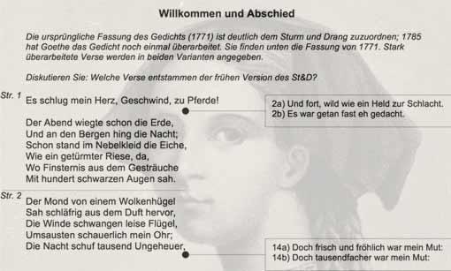 Ausschnitt: Arbeitsblatt Willkommen und Abschied / Friederike Brion