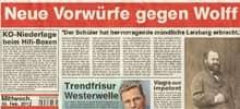 Zeitungsausschnitt 'Wolff'