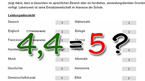 4 = 5: Zeugnisnote darf vom rechnerischen Mittel abweichen ...