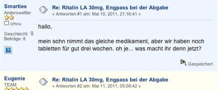 ADHS-Forum: Diskussion über Ritalin-Engpass