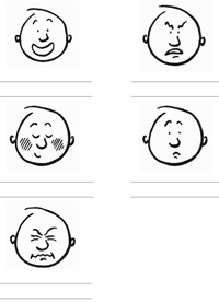 Ausschnitt aus Arbeitsblatt 'Wortschatz' mit Gesichtsausdrücken, zu denen Adjektive gefunden werden müssen