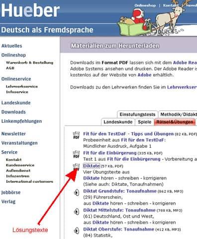 Screenshot der Übersichtsseite mit den Diktaten, Pfeil auf die PDF-Datei mit den Lösungen