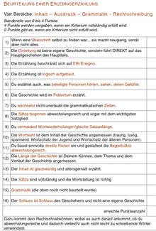 Erlebniserzählung: Aufbau, Beurteilungskriterien (Arbeitsblätter ...