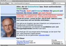 Screenshot von Karl Glasers Homepage mit Unterrichtsmaterialien für Deutsch, Bio, Musikerziehung