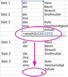 Screenshot: In Excel mit der Funktion ANZAHL2 die Anzahl der Zellen ermitteln, die einen Eintrag enthalten