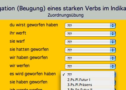 Screenshot: Uebungen zur Konjugation von Verben im Bereich Wortarten