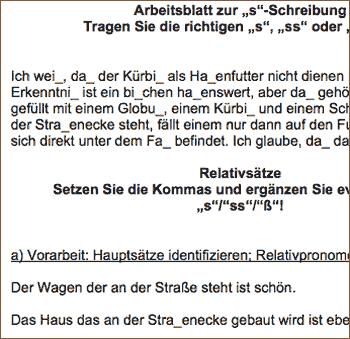 Vorschau: Arbeitsblatt 'Übungen: s-ss-s-ß-Schreibung, Kommasetzung bei Relativsätzen'