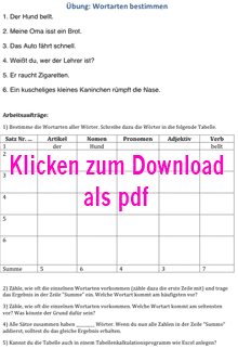 Vorschaubild: Arbeitsblatt 'Übung zur Bestimmung von Wortarten aus einem Text' (Übung 1), Klick öffnet Arbeitsblatt als PDF