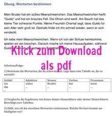 Vorschaubild: Arbeitsblatt 'Übung zur Bestimmung von Wortarten in einzelnen Sätzen' (Übung 2), Klick öffnet Arbeitsblatt als PDF