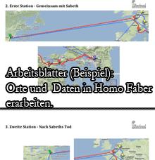 Ausschnitt aus den Arbeitsblättern zur Erarbeitung von Daten und Orten in Homo Faber