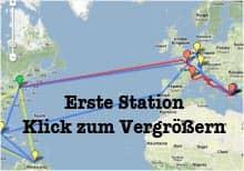 Vorschau: Karte der Ersten Station, Walter zusammen mit Sabeth - Google Maps (KLick zum Vergrößern)