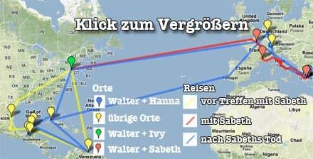 Homo-Faber-Karte auf Google Maps: Legende für Reisen und Stationen