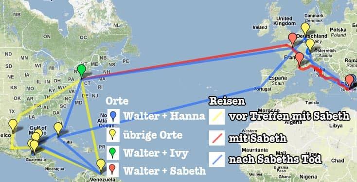 Homo faber: Chronologie in Karten (Reisen, Orte) + Arbeitsblätter ...