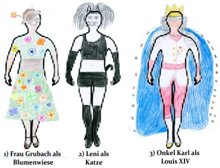 Schülerergebnisse der Gruppenarbeit 'Charakterisierung der Personen in Kafkas Prozess' (Verkleidung malen)