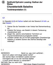Ausschnitt einer Klassenarbeitsaufgabe zu Lessings Nathan der Weise bei teachsam.de
