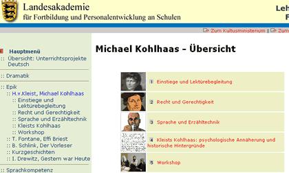 Screenshot der Site Lehrerfortbildung Baden-Württemberg