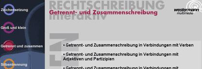 Themenauswahl im Rechtschreiblernprogramm, hier am Beispiel 'Getrennt-Zusammenschreibung'
