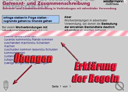 Screenshot: Bereich 'Regelwerk', hier am Beispiel Getrennt-/Zusammenschreibung, Teilbereich 'in Verbindung mit adverbialer Verwendung'