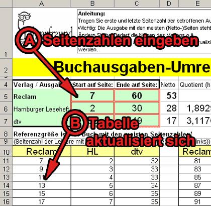 Screenshot vom Seitenzahlenumrechner