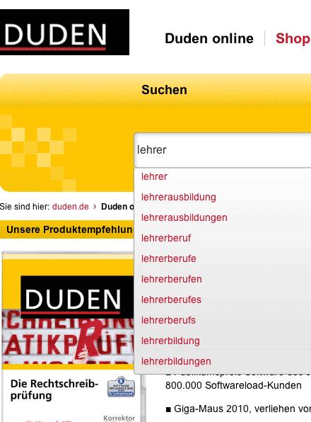 Screenshot: Dudensuche online mit Autovervollständigung