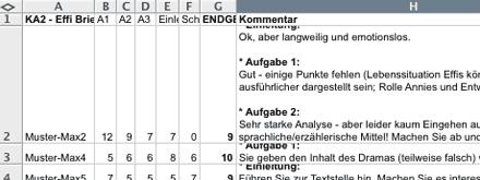 Excel-Tabelle, in der die Kommentare zu einer Klassenarbeit beim Korrigieren eingetragen werden (Screenshot)