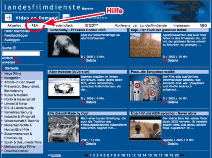 Unterrichtsfilme bei landesfilmdienste.de herunterladen und im Unterricht zeigen - Screenshot