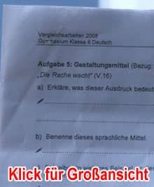 Ausschnitt: Foto der Vergleichsarbeit Deutsch, aufgenommen zwei Tage vor dem (geplatzten) Termin