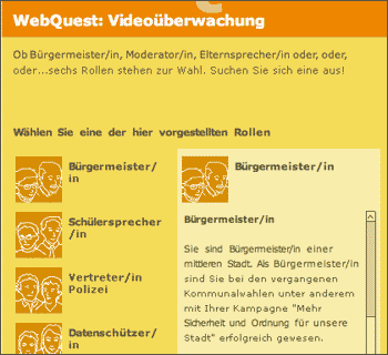 Screenshot Webquest Videoueberwachung, bpb.de