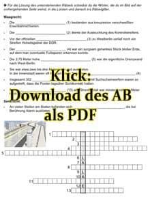 Vorschaubild: Arbeitsblatt Rätsel zum Bau der Berliner Mauer und zur Todeszone (Klick für Download als PDF)