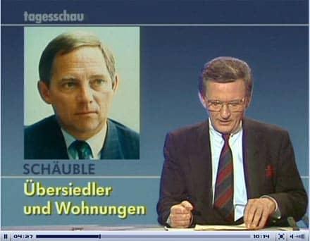 Bildschirmfoto der tagesschau vom 9. November 1989 - Jo Brauner gibt die Worte von Bundesinnenminister Schäuble wieder